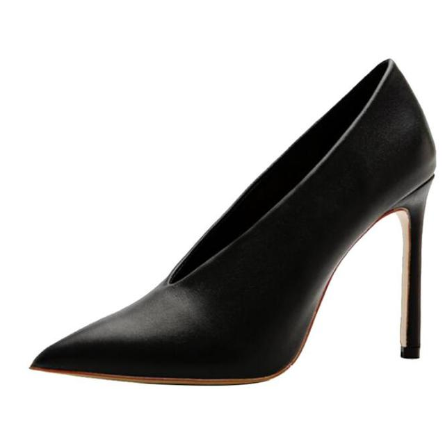 Carpaton Sexy Pointed Toe Woman High Heel Shoes Black Leather V-neck Thin Heels Pumps Office Lady Dress Heels Grey
