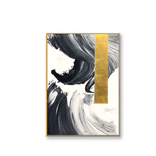 Nordic style abstract wall painting Handmade acrylic oil painting on canvas gold and black landscape picture for living room