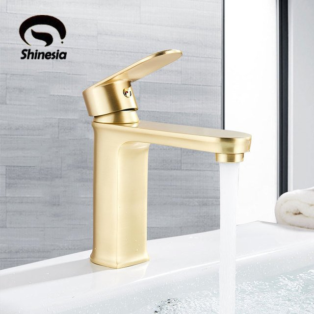 Brushed Gold Basin Sink Faucet Hot Cold Mixer Crane Tap Luxury Single Handle Deck Mount Bathroom Faucets