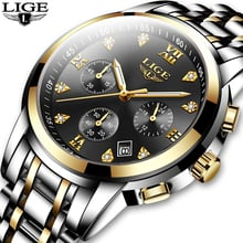 2020 New Mens Watches Top Brand Luxury LIGE Business Date Stainless Steel Quartz Watch Mens Fashion Waterproof Chronograph Male