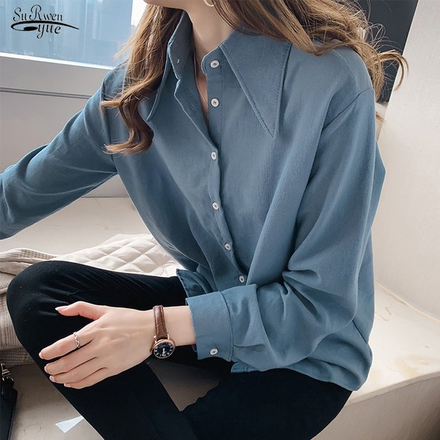 Blusas Mujer 2021 New Long Sleeve Solid Blouse Women Shirt Casual Loose Plus Size Cardigan Women Blouse Autumn Clothes 6859 50