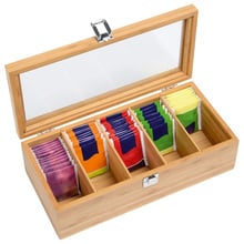 Wooden Tea Box 5-Compartment Organizer Storage Case High Quality Tea Coffee Dried Flowers Protect Storage Boxes