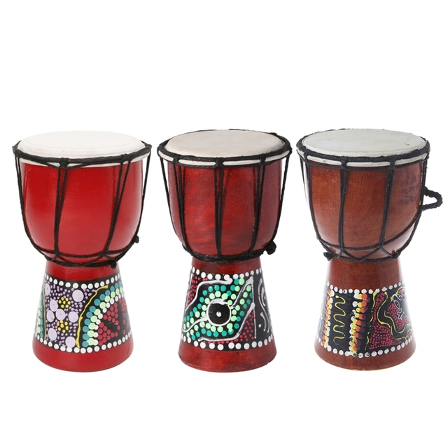 4 inch Professional African Djembe Drum Bongo Classic Painting Wood African Djembe Good Sound Musical Instrument Random delivery