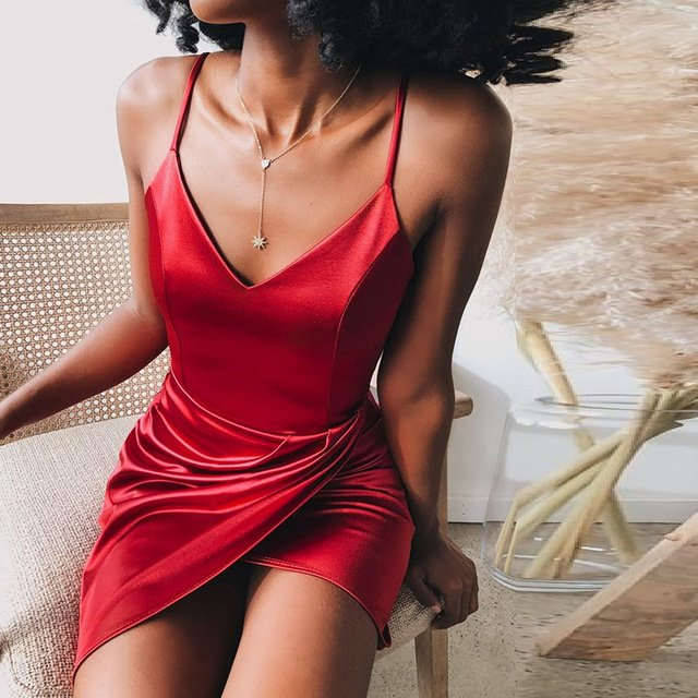 Satin Spaghetti Strap Mini Dress Women Low Cut  V-neck Backless Sexy Dress 2020 Night Club Party Dresses Outfits Woman Clothes
