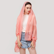 Solid Colour Women Scarf Sun Protection Soft Wrap Scarf Ladies Shawl Scarves Linen Outdoor Dustproof Long Scarf Female D30