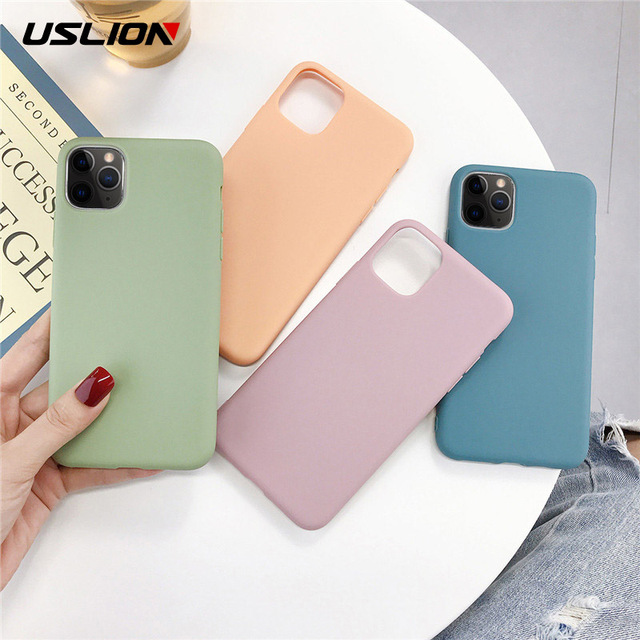 USLION Candy Color Phone Case For iPhone 11 Pro Max X XS XR Xs Max Soft TPU Silicone Simple Back Cover For iPhone 6 6s 7 8 Plus