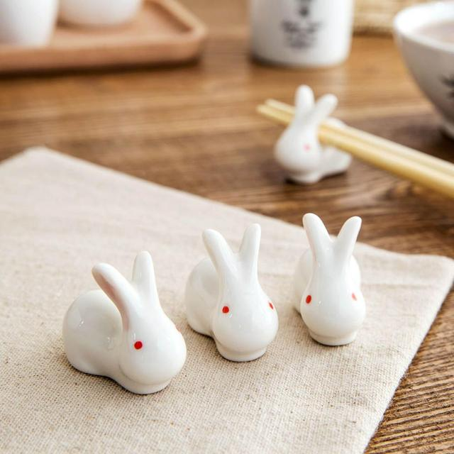 Ceramic Rabbit Japanese Kitchen Chopsticks Pillow Chopstick Rest Chopsticks Holder 2PCS