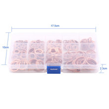 New 280pcs Professional Assorted Copper Washer Gasket Set Flat Ring Seal Assortment Kit M5-M20 with Box For Hardware Accessories