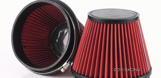 2688-1 red car air  filter with  plain PU top and 152mm neck universal for air intake induction kits