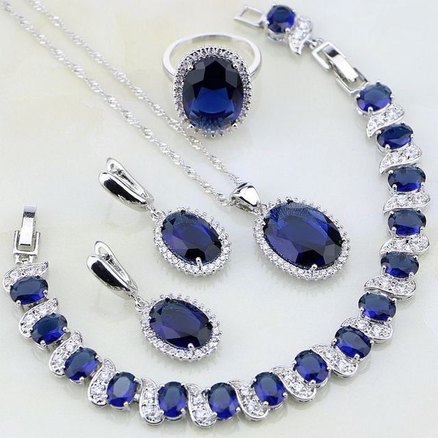 Oval 925 Sterling Silver Jewelry Blue Stones White CZ Jewelry Sets For Women Wedding Earring/Pendant/Necklace/Bracelet/Ring