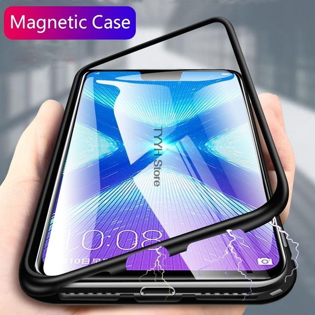 Magnetic Adsorption Metal Case For Motorola MOTO G6 Play Cases Tempered Glass Magnet Phone Cover For Moto G6Play G6 Play E5 Etui