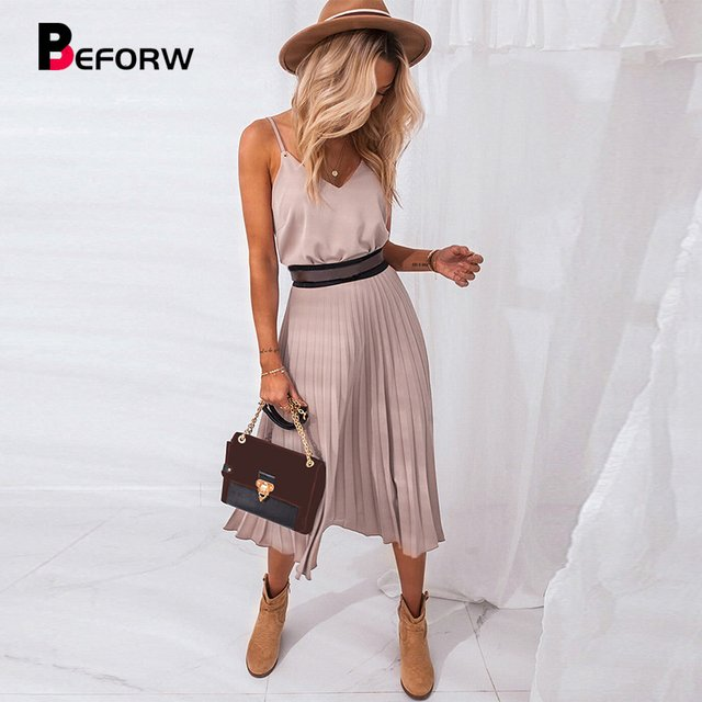2021 Sexy Women Summer Sexy Dress Spaghetti Strap Dress V-Neck Pink Female Pleated Midi Dress Casual Office Ladies Party Dresses