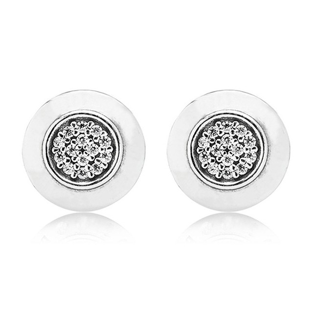 CUTEECO Round Shiny Silver Color Stud Earrings For Women 2019 New Fashion European Earrings Simple Jewelry Wholesale
