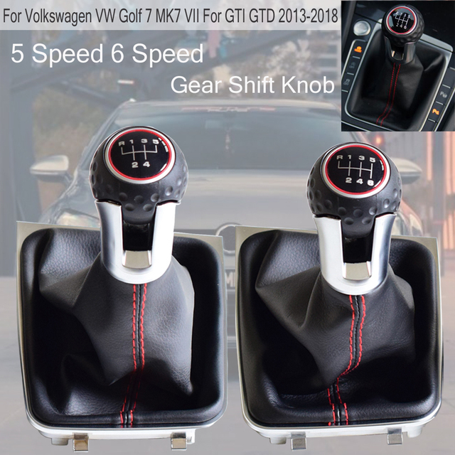 Auto Black Panel Red circle 5/6 Speed Car Gear Shift Knob Lever For Volkswagen VW Golf 7 Mk7 GTI GTD 2013 2014 2015 2016-2018