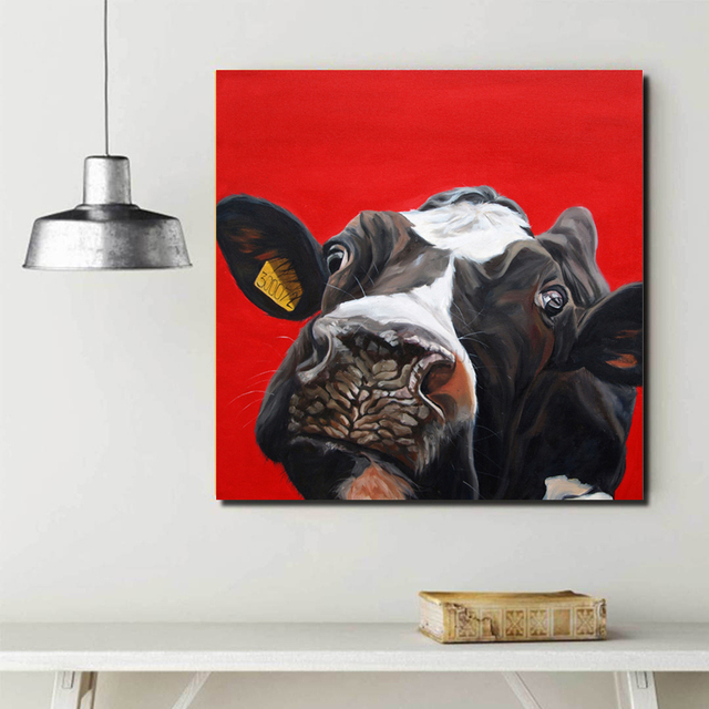 SELFLESSLY Animal Oil Painting Cute Cow Red Background Wall Art Pictures Printed On Canvas For Living Room Decorative Paintings