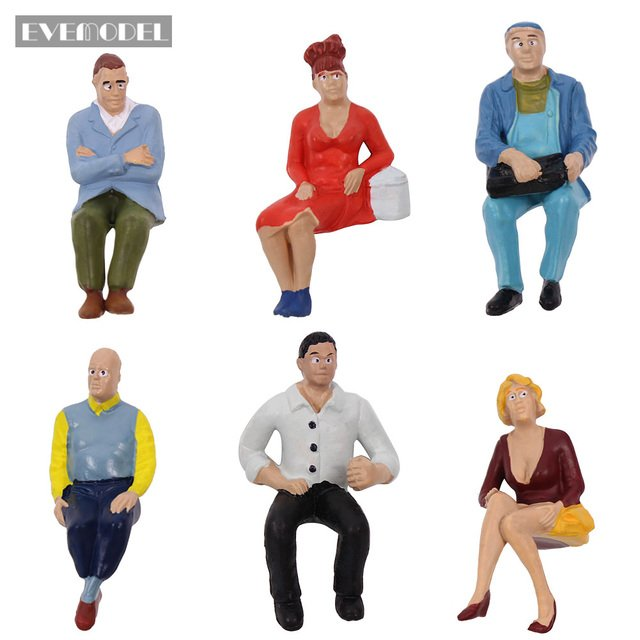 6pcs/12pcs G scale Model Figures 1:22.5-1:25 All Seated  Painted People Model Railway P2507