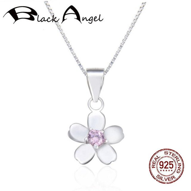 925 Sterling Silver Pink Zircon Flowers  Pendant Necklaces Women 925 Silver Fine Jewelry Exquisite Clavicle Chain