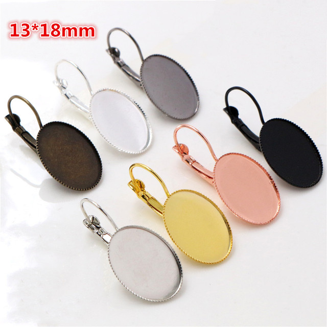 13x18mm 10pcs/lots 8 Colors plated French Lever Back Earrings Blank/Base,Fit 13x18mm Oval glass cabochons
