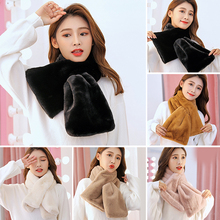 Women Winter Scarf Thick Plush Faux Rabbit Fur Scarf Solid Candy Color Scarves Collar Neck Warm Neckerchief Long Faux Fur Scarf