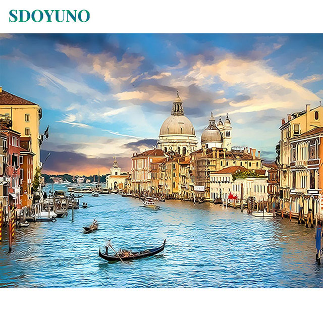 GATYZTORY 60x75cm Painting By Numbers Frameless Venice Landscape Digital Painting DIY Home Decor Pictures by numbers On Canvas