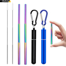 Telescopic Metal Drinking Straw Collapsible Reusable Straw Portable Stainless Steel Straw with Case and Brush for Travel Outdoor