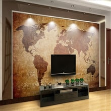 European Vintage 3D Brown World Map Background Wall Mural Wallpapers for Living Room Bedroom Decor 3D Wall Papers Home Decor