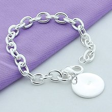 Free Shipping Silver Round Charm Bracelets Jewelry 925 Silver Bracelets Silver Chain Bracelets Jewelry For Women Gift