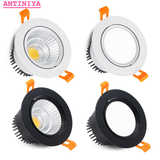 4 types round Dimmable Recessed LED Downlights 5w 7w 9w 12w 15w 18w COB LED Ceiling Lamp Spot Lights AC110-220V LED Lamp