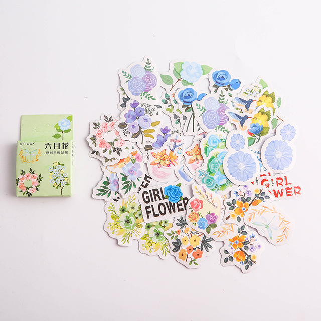 40pcs/pack Flowers Totem Memo Stickers Pack Posted It Kawaii Planner Scrapbooking Stickers Stationery Escolar School Supplies