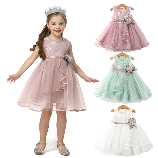 2 Year Baby Girls Clothes Flower Dress for Girls Summer Tutu Dress Lace Tulle Party Princess Wedding Dress Kids Casual Clothing