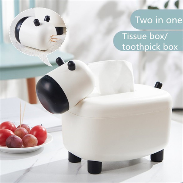 Household cute cartoon lamb tissue box roll paper pumping paper universal tissue desktop storage box with toothpick box