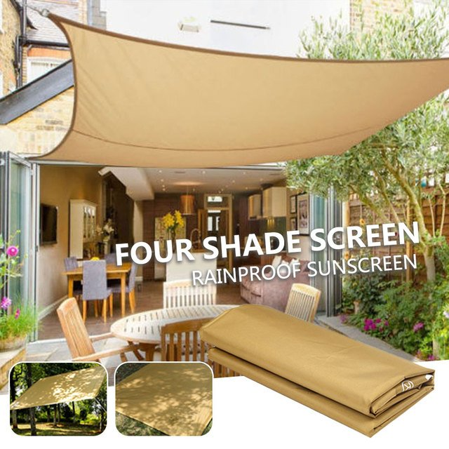 Shade Sail Shelter Camp Waterproof Shade Screen Awning Shade Canopy Gazebo Square 3-4 People Beige Camping Cloth Moisture Proof