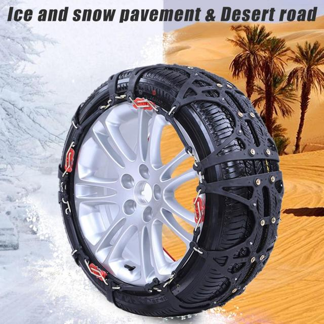 2PCS Car Snow Chain Rubber Jack-free Non-slip Wear-resistant Tire Chain For Snow Ice Sand Muddy Offroad For Most Car SUV Wheel