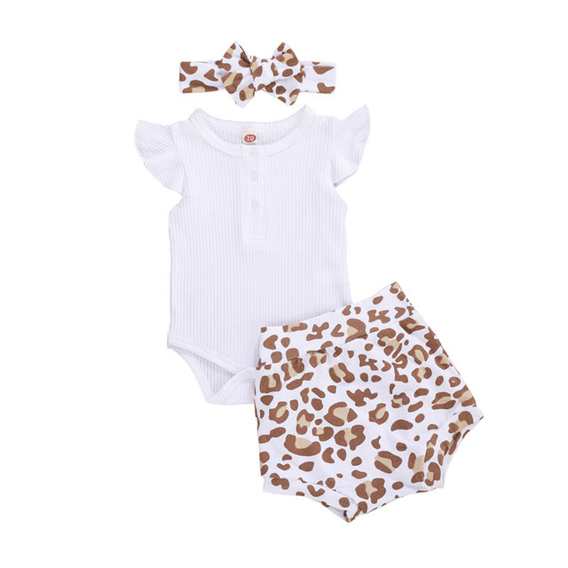0-18M Toddler Baby Girls Summer Clothes Newborn Infant Girl Button Rompers Tops+High Waist Shorts Ribbed Knitted Outfits Clothes