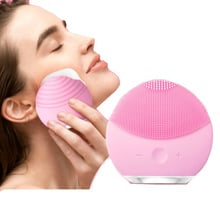 Facial Cleansing Brush Sonic Vibration Mini Face Cleaner Silicone Deep Pore Cleaning Electric Waterproof Massage Soft