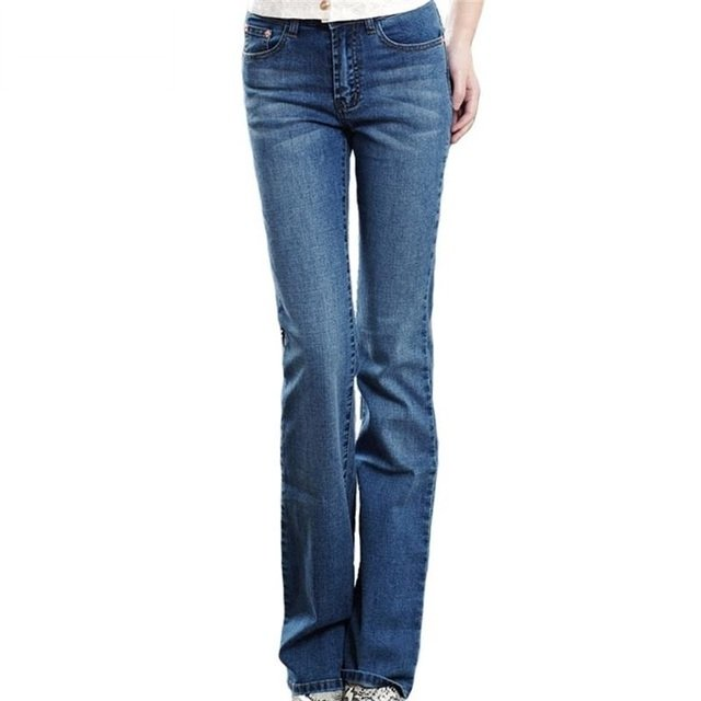 High Quality 2020 Women's slim mid waist boot cut jeans light blue fashion bell bottom trousers flares pants free shipping