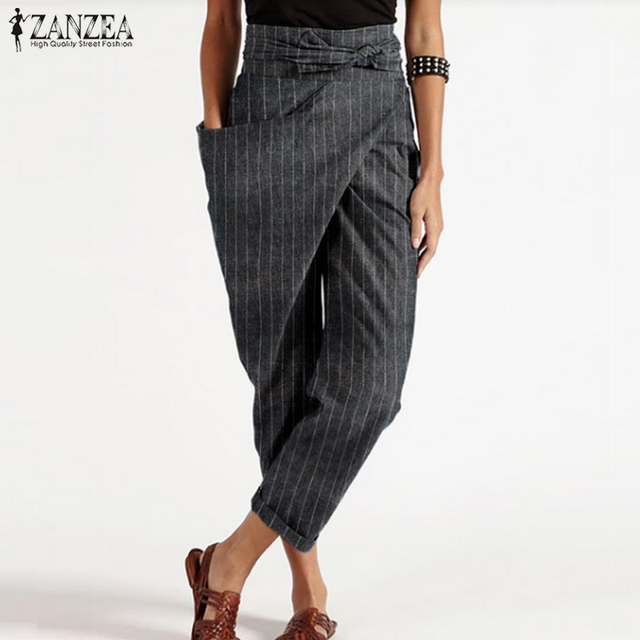 Zanzea 2020 Women Striped Trousers Fashion Asymmetrical Harem Pants Female Causal Lace Up Long Pantalon Palazzo Plus Size Turnip Buy Cheap In An Online Store With Delivery Price Comparison Specifications Photos