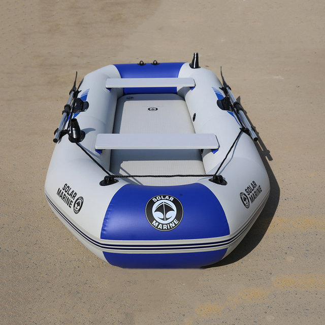 3 Person 230cm Inflatable Boat PVC Rowing Kayak Canoe Raft Dinghy Hovercraft Fishing Diving Ship Air Deck Bottom
