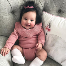 Nicolouise Baby Girls Babies' Knit Jumpsuit Romper Ruffled Collar Sweater Frilled Triangular Crawling Clothes