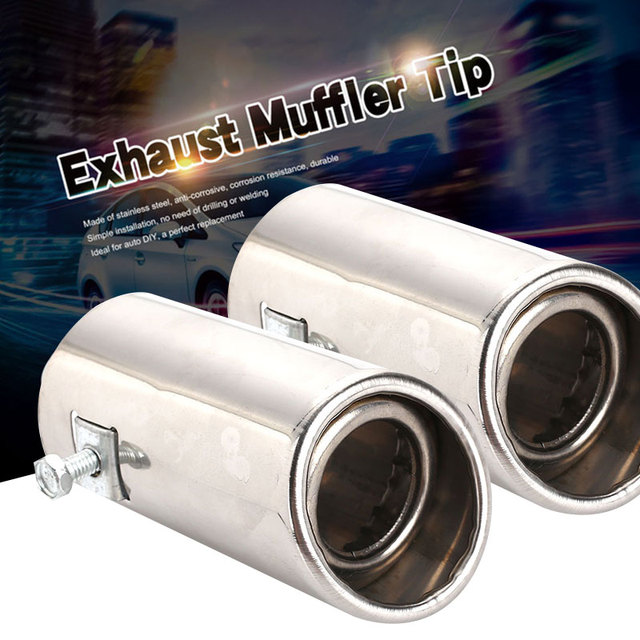 Vehemo Diameter 51-51mm Auto Car Tail Pipe Outlet Muffler Tip Pipe Stainless Steel Exhaust Tail Vehicle Noise Reduction Rear