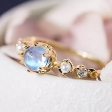 Fashion Silver White Crystal Ring Ball Shape Moonstone Jewelry Engagement Christmas Gift Wedding Band Rings for Women Size 6-11