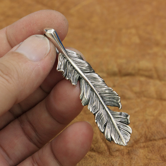 925 Sterling Silver High Detail Feather Pendant Mens Biker Punk Pendant TA52