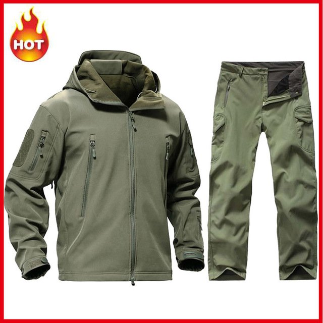 Tactical Softshell TAD Sets Men Jacket + Pants Outdoor Camouflage Hunting Clothes Military Hiking Camping Windproof Hooded Suits