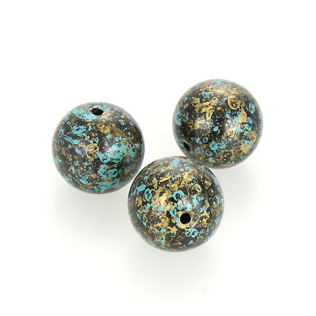 Miasol 20 Pcs 20 MM Sprayed Acrylic Painted Antique Design Round Spacers Loose Beads For Diy Jewelry Making Accessories