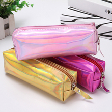 Laser Rainbow Square Zipper PU pencil case pen bag pencil bag Stationery Gift School Cute