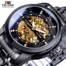 TEVISE Retro Diamond Display Men Self Wind Automatic Black Golden Stainless Steel Skeleton Watch Top Brand Mechanical Clock