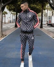 Muscle Brother New Style Men Slim Fit Sports Casual Fitness Suit Autumn Trousers Cardigan Hoodie Two-Piece Set