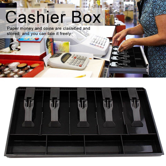 4/5 Bills 4 Coins Store Cash Drawer ABS Replacement Coin Cashier Storage Box Stylish Cash Drawer Register Insert Tray Security
