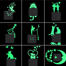 1PCS Cartoon Luminous Switch Sticker Glow in the Dark Wall Stickers Home Decor Kids Room Decoration Sticker Decal Cat