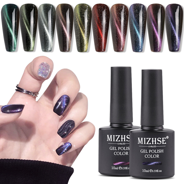 MIZHSE Cat Eye Nail Gel Polish Soak Off UV Gel Lacquer Enamel Magnetic Lucky UV Gel Varnish Cat Eye Nails Shining Laser Nail Art